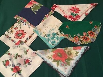 Vintage Ladies Floral Hankerchiefs,hankies Lot Of 7