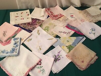 Vintage Lot Of 20 Hankerchiefs,hankies Craft, Cutter,flawed