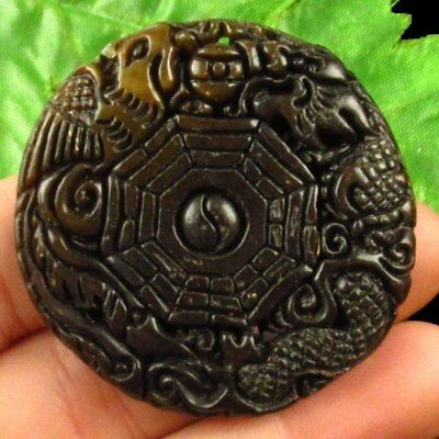 Carved Chinese Old Jade Hand-made the Eight Diagrams Pendant Bead X33006
