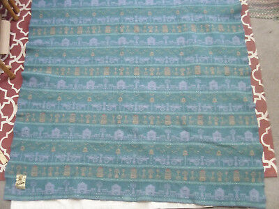 "Vintage Woolrich Wool Blanket Throw Folk Art Design Cabin 48"" x 50"" Blue Green"