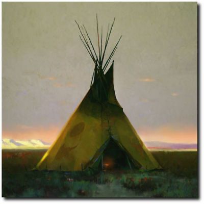 Where the West Begins by R. Tom Gilleon - Tipi - Indian Art - Canvas