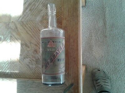 Antique Pre Prohibition Whiskey Bottle McBrayer Sour Mash mail order label back!