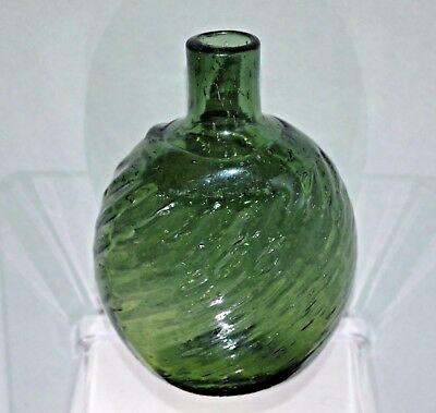 """Pitkin Style Flask, 5 1/2"""" Grass Green, Ribbed Half Post, Open Pontil"""