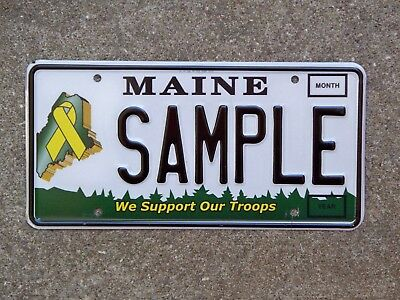 Maine WE SUPPORT OUR TROOPS Sample License Plate Yellow Ribbon On Maine Veteran