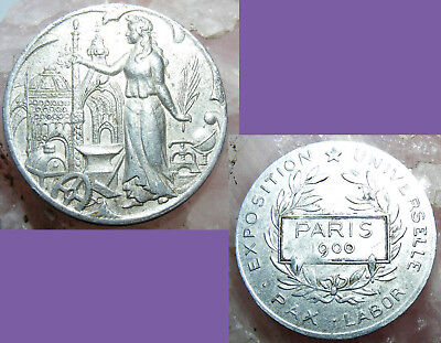 Antique Medal 1900 Universal International Exposition Pax Labor Token Paris