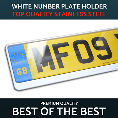 1 x Luxury White Stainless Steel Number Plate Holder Surround Frame Jeep