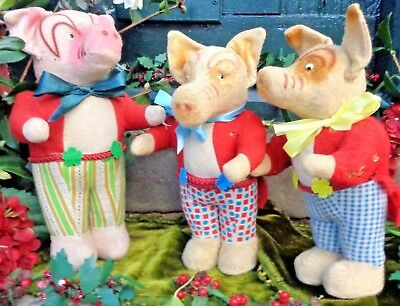 Three Adorable & Unusual Antique German Pigs With Googly Glass Eyes, Circa 1930?