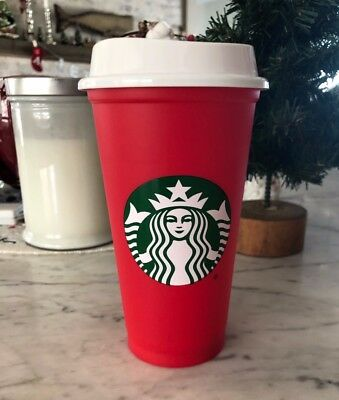 NEW! Starbucks 2018 RED WHITE HOLIDAY Christmas Reusable Plastic 16oz TO GO Cup