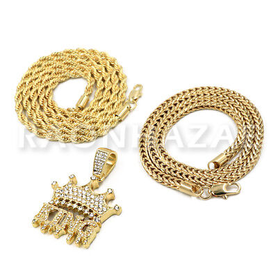 FRANCO CHAIN MENS ICED GOLD PLATED KING KONG GORILLA PENDANT 4mm ROPE