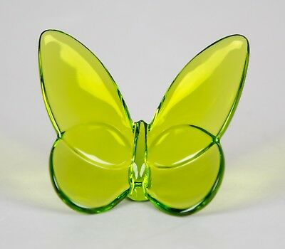 Baccarat France Green Lucky Butterfly Crystal Figurine Signed