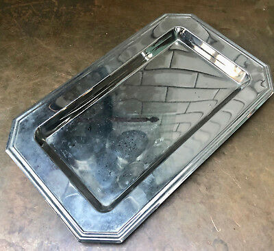 Vintage French Small Chrome Art Deco Style Angular Tray In Good Condition
