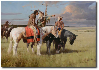 In Quest of the Cree by Z.S. Liang - Native People - Indian Art - Horses -Canvas