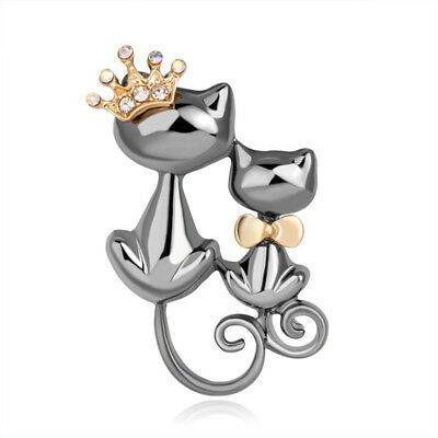 Cat Kitten Grey Silver Gold Crown Bow Tie Clear Rhinestone Brooch Broach Pin