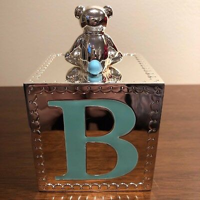 Reed & Barton by Lenox GINGHAM TEDDY BEAR Alphabet Block Bank