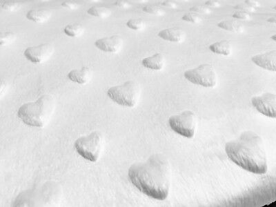 HEART Supersoft Dimple Fleece Fabric Plush Cuddle Soft 160cm wide WHITE