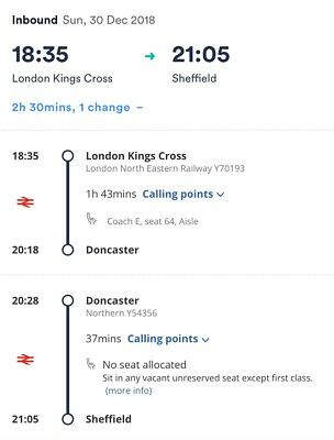 *REDUCED* LNER London Kings Cross To Sheffield 30th Dec **with 16-25 Railcard**