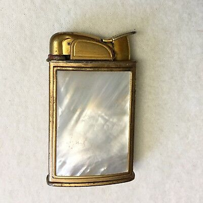 Vintage Evans Lighter Mother of Pearl & Brass Solid MOP