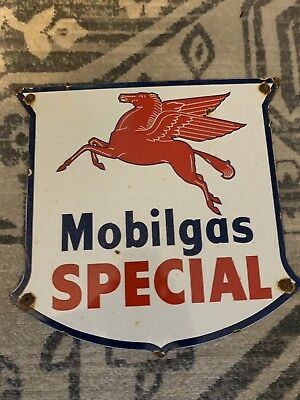 VINTAGE MOBILGAS SPECIAL GASOLINE PORCELAIN SIGN From My Grandpa Gas Station 38'