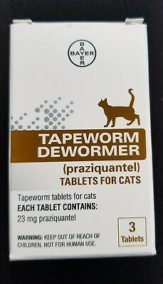 NEW Bayer Expert Care Tapeworm Dewormer for Cats & Kittens 3 Tablets