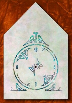 Steeple Clock Dial, teal art on marbly background