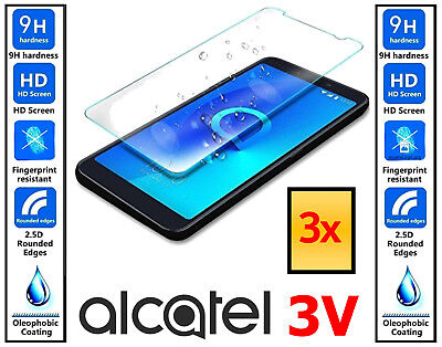 3x Genuine 100% TEMPERED GLASS HD Screen Protector Cover For Alcatel 3V
