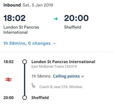 *REDUCED* EMT London St Pancras toSheffield 5th January **with 16-25 Railcard**