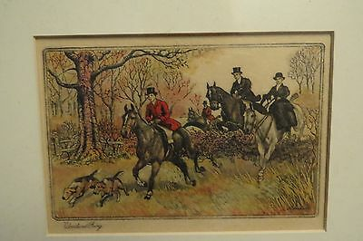 "Vintage Foxhunt & Foxhound Framed Greeting Card 1920S ""WOODLAND GOING"""