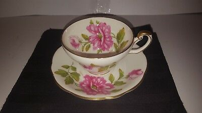 Signed A. Taylor Handpainted Pink Wild Rose Foley Tea Cup Saucer