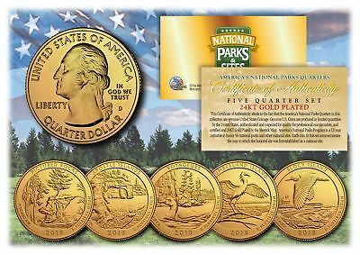 2018 America The Beautiful 24K GOLD PLATED Quarters Parks 5-Coin Set w/ Capsules
