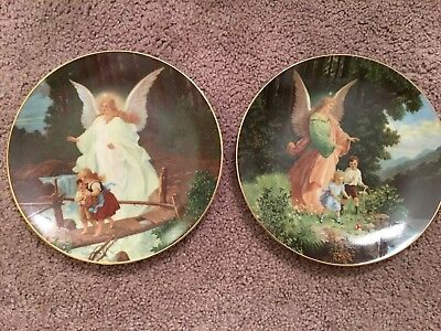Safe Passage Watchful Eye Lot Of 2 GUARDIAN ANGELs PLATEs Diamond Collection