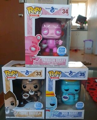 3 Funko Pop Vinyl Ad Icons Count Chocula Franken Boo Berry RARE Cereal Monsters