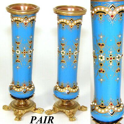 """PAIR Antique French Sevres Enamel 4 3/8"""" Miniature Bud Vases, """"Jeweled"""" Accents"""