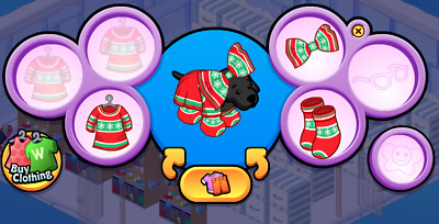 Webkinz Online Virtual Clothing - Promo Estore Holiday Sweater FULL OUTFIT