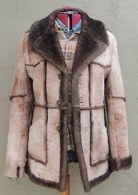 >>ll====Cowboy Stuff====l> Sheepskin Shearling Leather & Fur Coat Size (L)