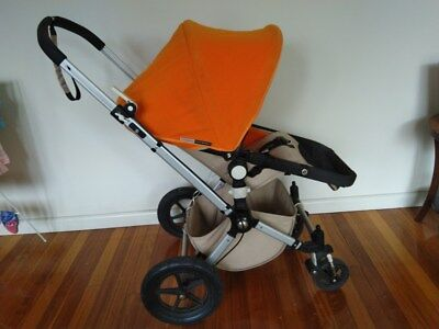 Bugaboo Cameleon pram with extrabassinet, rain cover, fly cover and vented hood