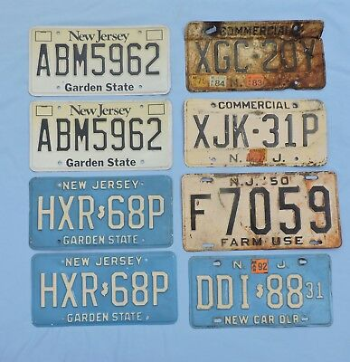 Lot of 8 New Jersey License Plates Dealer Farm Commercial Passenger NJ Vintage