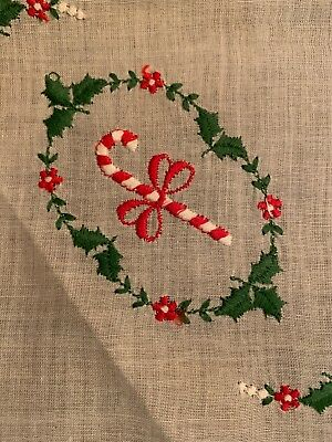 Christmas Hankie, Candy Cane And Holly embroidered On Cotton With Red Binding