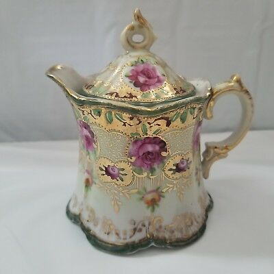 Vintage Creamer with lid hand painted gold trim purple flowers creamer