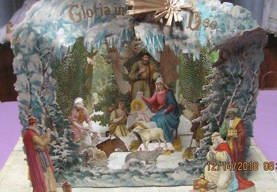 German Antique Cardboard Nativity 3D Fold Out With Rotating Angels from candle