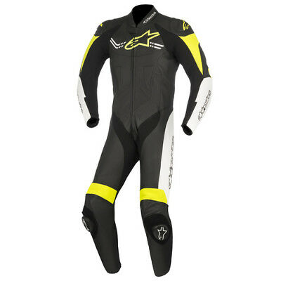 Alpinestars Challenger V2 Black/White/Fluro Yellow Leather Racing Suit