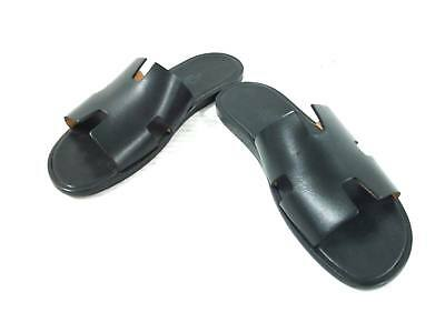 8d953cfe1510 Auth HERMES Izmir Black Leather Mens Sandals No Size Stamped