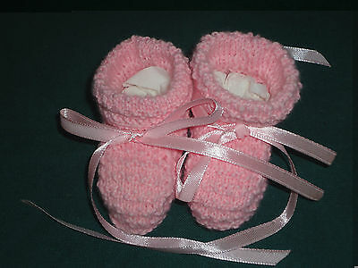 Baby Booties 'Pink' Hand Knitted