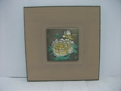 Pure gold, pure silver, a metal engraving product. Flower. Japanese Antique.