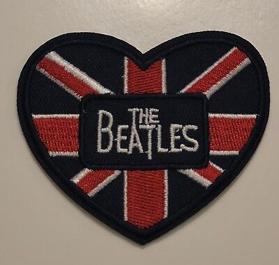 "The BEATLES Embroidered Patch England Flag 2 1/2""x 2 1/4 Iron / Sew On Logo Abby"