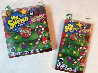 LOT OF 2 Mr. Sketch Scented Holiday Christmas Washable Markers—1 Chisel + 1 Stix