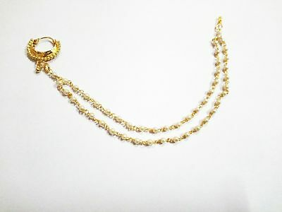 Gold Plated Nose Ring Indian Wedding Nath Pearl Chain Nose