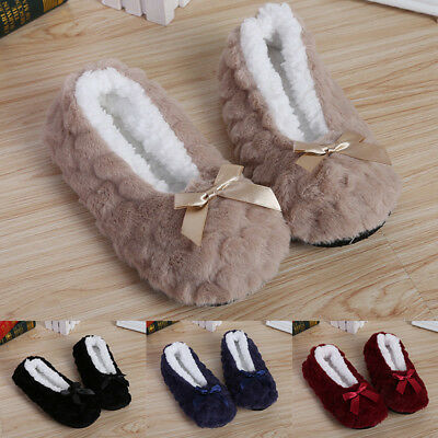 Home Slippers Women Soft Indoor House Fur Lined  Non Slip Warm Shoes Cute Winter