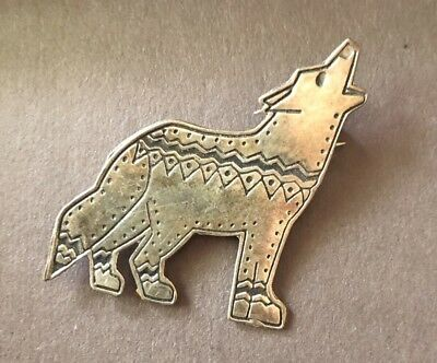 Sterling Silver Southwestern Style Wolf Pin