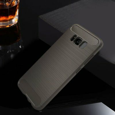 Carbon Fiber Wire Drawing Silicone Phone Case Shell For Samsung Galaxy Note8 AZ