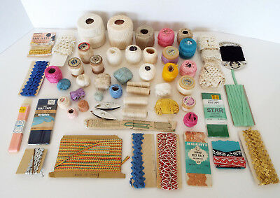 VINTAGE SEWING NOTIONS 56 Piece Estate Lot Crochet Threads Trims Rick Rack Lace